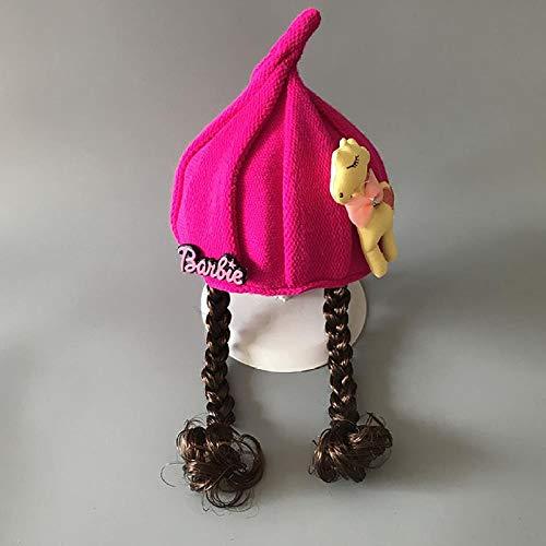 Chapeau tricoté pour bébé chapeau de laine pour bébé automne hiver chapeau chaud fille princesse perruque chapeau de ski de mode chapeau, 2-4 ans, taille unique, rose rouge poney chapeau à 3 pointes