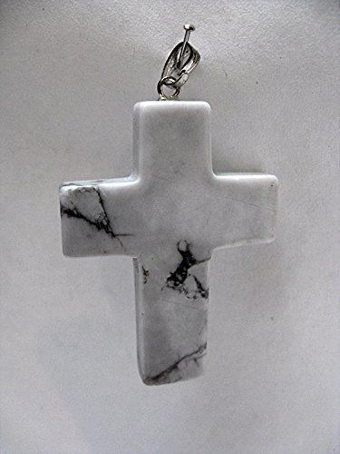 Natural Mente - Colgante de howlita y cruz, piedras preciosas, piedras semipreciosas, howlita, n.º 1