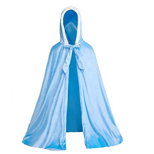 Olife Full Length Deluxe Princess Hooded Cape Cloaks with Soft Velvet Costume for Girls Dress Up 3-12 Years -Blue
