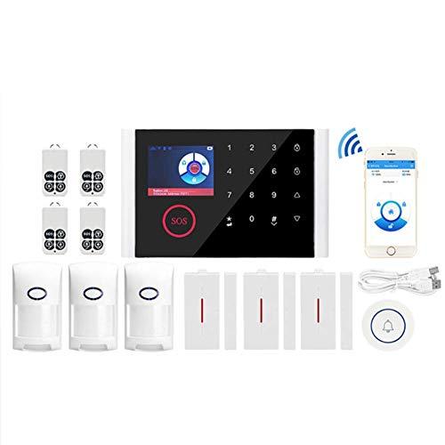 GUOKUI Sistema De Seguridad, Sistema De Alarma Antirrobo Inalámbrica Wi-Fi + gsm Profesional LED Wireless Display De Voz Inicio Supermercado Chalet Puerta De Infrarrojos Y Alarma Ventana