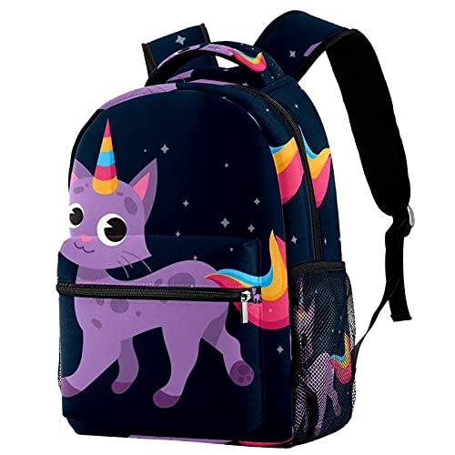 delayer Mochila de viaje unisex Unicornio morado Mochila para portátil al aire libre de moda mochilas para niños y niñas
