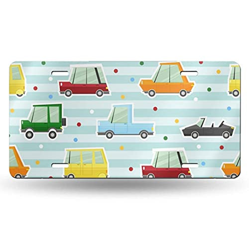 Lawenp Pattern Collection with Car 6in X 12in Vintage Novelty License Plate Tag Sign License Plate for Car Truck Or Tractor