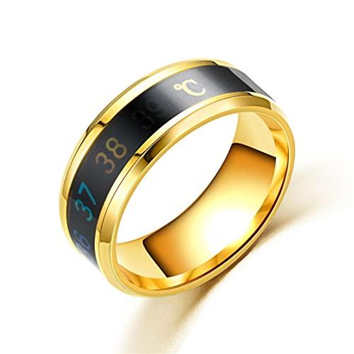 Anillo mágicopara mujeres y hombres Muestra de temperatura Anillos inteligentes Personalidad Joyería de dedo de acero de titanio-7, Style3