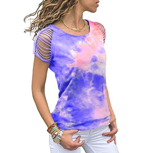 Camiseta Mujer Blusa Moda Sexy Verano Cuello Redondo Mujer Tops Único Tie Dye Hombros Descubiertos Diseño Diaria Casual Cómodo Transpirable Mujer Manga Corta B-Dark Blue 3XL