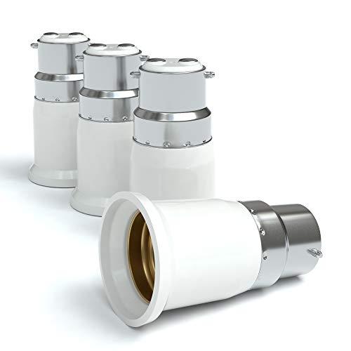 4x Lampensockel Adapter – Konverter für B22 Fassung auf E27   Lampenadapter für LED-/Halogen- und Energiesparlampen   Sockeladapter von EAZY CASE, weiß