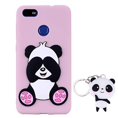 HopMore Panda Funda para Huawei P9 Lite Mini/Huawei Y6 Pro 2017 Silicona con Diseño 3D Divertidas Carcasa Ultrafina Case Antigolpes Protección Cover Dibujos Animados Gracioso con Llavero - Rosado