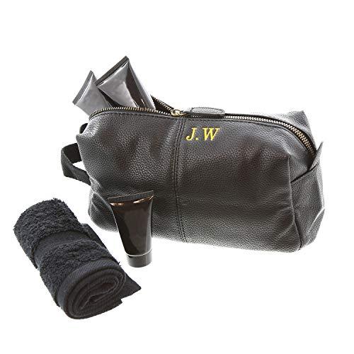 aztex Personalised Men's Nu-Hide Range, Cabin Luggage - Wash Bag, Black