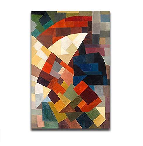 KHGAHD DIY Gemälde Ausmalbilder Nach Zahlen Auf Leinwand Kandinsky Abstract Red Regenschirm Kunstwerk Farbblock Handmade for Hoom Decor Without Frame -40x50cm