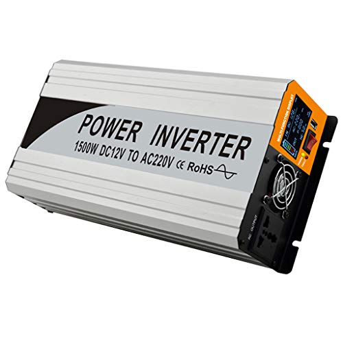 GXFC 1500W Pure Sine Wave Zonne-omvormer DC 12V / 24V naar AC 110V / 220V Converter, met LCD-scherm en 2.1A USB-poort, Power omvormer voor auto, vrachtwagen, boot