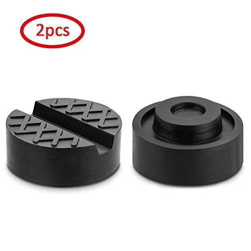 Minluk Set mit 2Gummipuffern für hydraulischen Wagenheber, Puffer für Kfz-Wagenheber, solide, schützt den Unterboden der Karosserie beim Anheben von Autos, schwarz