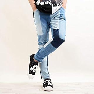 1111clothing デニムパンツ ボトムス ストレッチ スキニー メンズ レディース 韓国 ファッション ペアルック カップル お揃い 服 デニム パッチワーク アンクルパンツ カットオフ