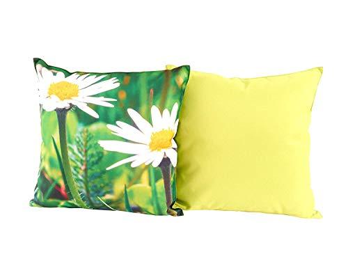 CB Home & Style Outdoor Garten Kissen Druck 45 x 45 cm (Des4MargeritenGroß)