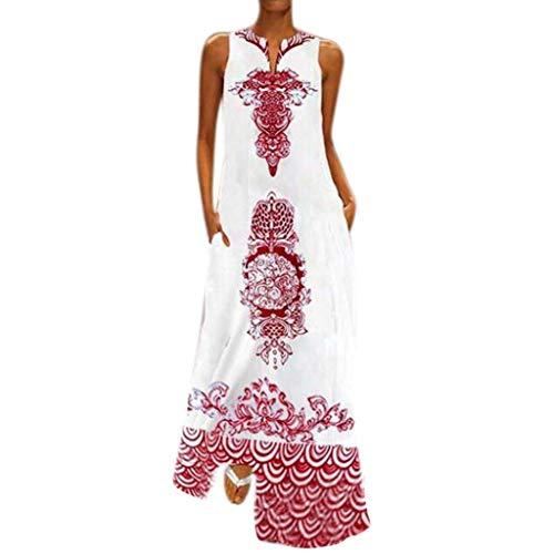 Vimoli Kleider Damen Nationaler Stil Damen Casual Kleid Ärmellos V-Ausschnitt Blusenkleider Blumen Print Langes Boho Strandkleid(Rot,De-46/CN-XXL)