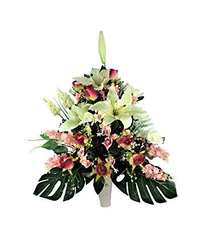 LBA Centro de Flores Artificiales para Cementerio, Preparado para Introducir en los Botes de Tumbas o Nichos. Varios Modelos. (Blanco y Rosa)