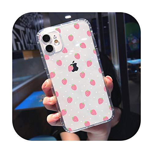 Schutzhülle für iPhone 11 / 12 Mini Pro XS MAX 8 7 6 6S Plus X 5S SE 2020 XR-a10-iPhone6 oder 6S Transparent mit Erdbeermotiv