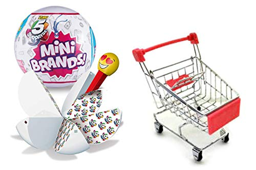 ZURU Miniature Grocery Brands 5 Surprise Collection Blind Ball Doll House Fun Smalls Bundled with + Mini Shopping Cart 2 Items