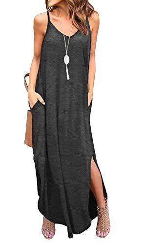 GRECERELLE Women's Summer Casual Plain Loose Beach Cover Up Long Maxi Cami Dress with Pockets Dark Gray-X-Large