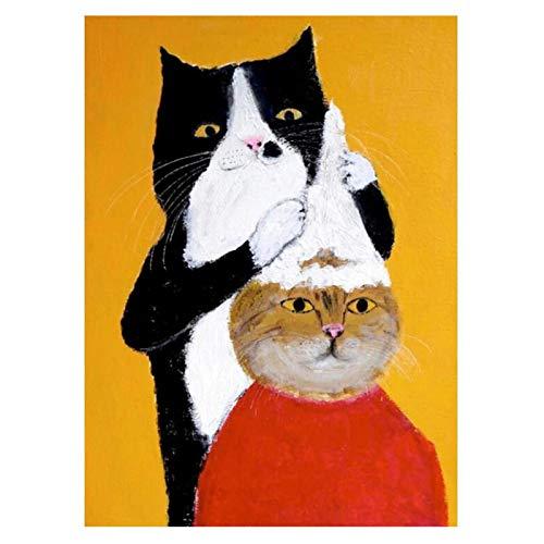 Qwgykr Gato Negro Peluquero Champú Animal De Dibujos Animados Óleo Sobre Lienzo Arte Decoración De Pared E Imagen Para Habitación De Niños-20X30 Pulgadas Sin Borde