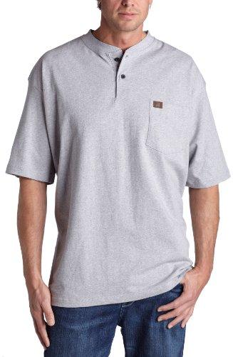 Wrangler Riggs Workwear Men's Short Sleeve Henley,Ash Heather,Large