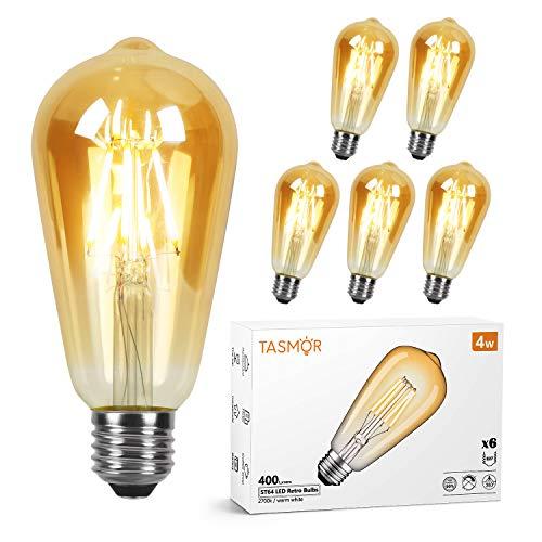 Edison Vintage Glühbirne E27 4W 220V, TASMOR LED Glühbirne 2700K Warmweiß, Antike Glühlampe 400lm, Retro LED Leuchtmittel Ideal für Nostalgie & Retro Beleuchtung im Haus Café Bar Restaurant, 6er Pack