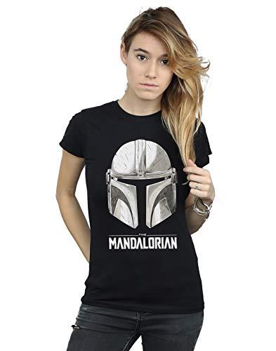 Star Wars Mujer The Mandalorian Helmet Logo Camiseta Negro Large