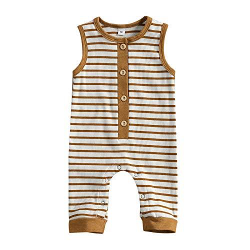 LUCSUN Ropa de verano sin mangas para bebé recién nacido, mameluco de algodón, traje de una sola pieza