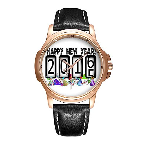 Personality Mode wasserdichte Herren-Armbanduhr Analoges Quarzlederband Mit Gold-292.2016 New Years Odometer Party Hats Watches