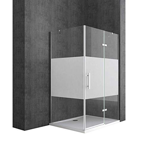 Sogood Eck-Duschkabine Eckdusche Ravenna28MS 90x120x195cm Duschabtrennung mit Milchglas Streifen ESG-Sicherheitsglas Klarglas inkl. Nano-Beschichtung