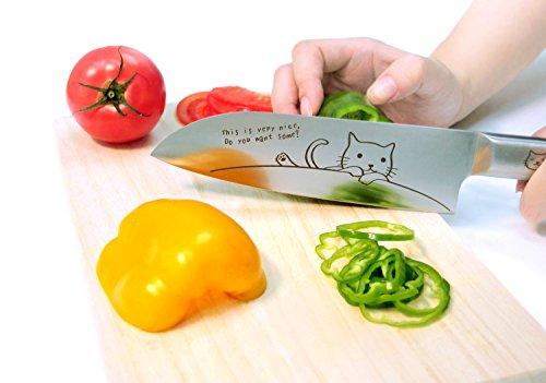 料理めんどい…。せめて気分の上がるツールで。ねこのレーザー刻印がかわいい包丁
