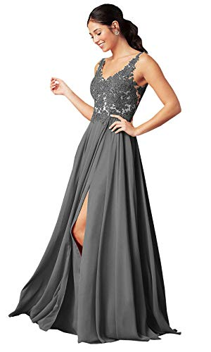 Plus Size A Line Lace Long Beaded Bridesmaid Dresses Chiffon Open Back Formal Party Dress Grey Customsize (Apparel)