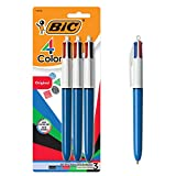 BIC 4-Color Retractable Ballpoint Pen, Medium Point (1.0mm), Assorted Colors, With Long-Lasting Ink, 3-Count