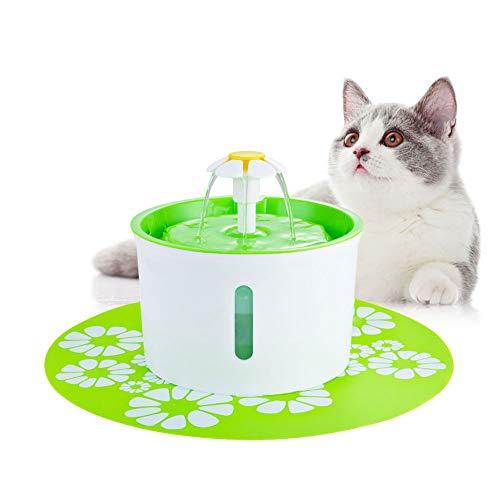 ペット給水器 猫 水飲み器 自動 犬 みずのみ器 活性炭フィルター付き 水量の見える 超静音 1.6L大容量 防水食事マット付き 留守番対応 循環式給水器 USBタイプ (グリーン)