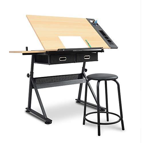 Wonderlife Verstellbarer Zeichentisch mit neigbarer Tischplatte / 2 Schubladen / Hocker, Art Table Schreibtisch-Set
