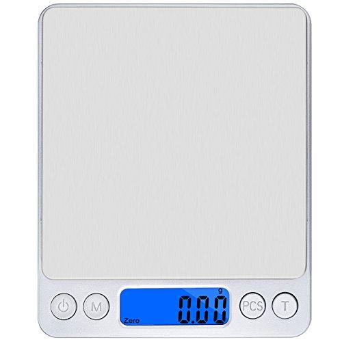 Precison Digital Cocina Escala Olrick 500G x 0,01G Smart Weigh–Báscula de cocina con pantalla LCD retroiluminación azul y trae función para pesar alimentos, polvo, Fine, artículos de joyería etc