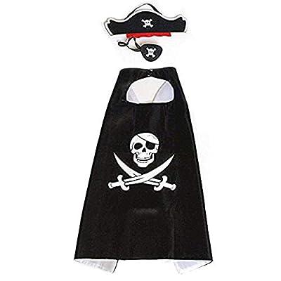 RioRand Cartoon Pirate Dress Up Satin Capes Cosplay Birthday Party Kids Costume 1pcs Black from RioRand