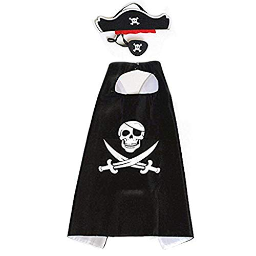 RioRand Cartoon Pirate Dress Up Satin Capes Cosplay Birthday Party Kids Costume 1pcs Black