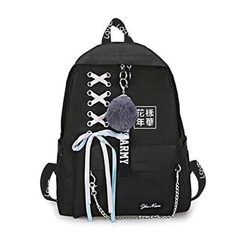 Saicowordist KPOP BTS Black Leisure Backpack Boys and Girls Students Backpack Star Ssurrounding School Bag Hot Gifts for Fans Bts4