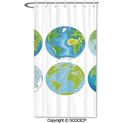 36x72 inch, douchegordijnen 12 haken opgenomen van verschillende tekeningen van de wereld met Atlantische zee kunstwerk Deco waterdichte stof douchegordijnen