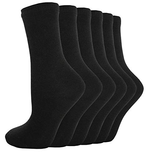 YANOIR 6/12 pares Calcetines Térmicos para Hombre/Mujer, altos de Algodón + Rizo interior (Negro, 6 pares (40-46))