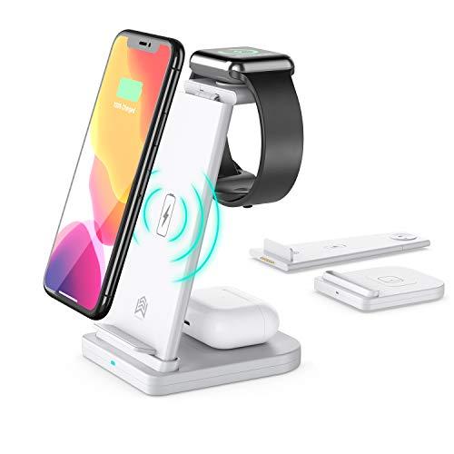 Cargador inalámbrico, 3 en 1, estación de carga inalámbrica rápida y certificada Qi, base de carga para iPhone 11/11Pro Max/X/XS/XR/XS Max/8/8 Plus, Apple Watch Series 5/4/3/2/1, AirPods 1/2/Pro, Samsung S20/S10