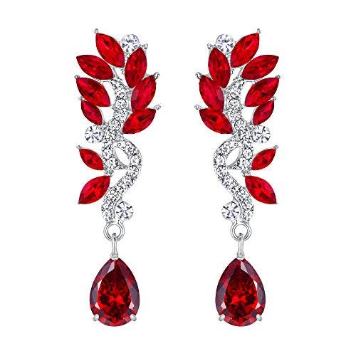 EVER FAITH Mujer Cristal Boda Flor Lágrima Araña Pendientes Colgante Rojo Tono Plateado