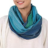 NOVICA Blue and Green or Teal 100% Cotton Infinity Scarf, Seaside Breezes'