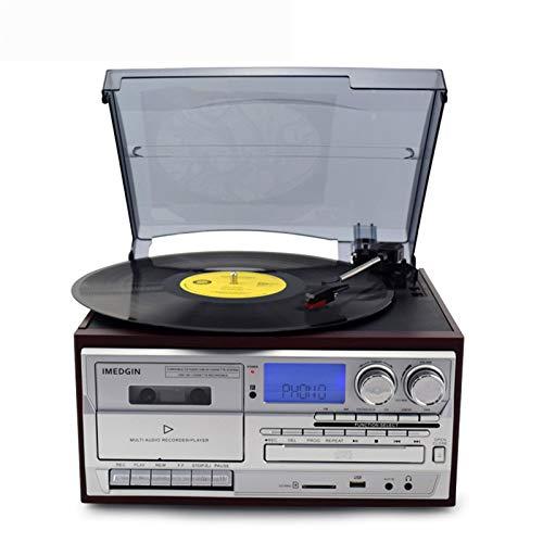 Lhlbgdz Reproductor de Casete, Tocadiscos de Vinilo Retro de gramófono Vintage, Reproductor de CD, Reproductor de CD, Reproductor de Casete, grabadora USB MP3 Bluetooth
