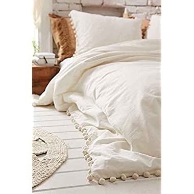 White Pom-Fringe Duvet Cover Full Queen,80inx86in