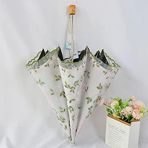 Paraguas de viaje a prueba de viento Protección solar, sombrilla, hembra, malla doble, paraguas de encaje, flores de bordado de gama alta, vinilo, paraguas de sol, UV Protección, paraguas de viaje. Pa