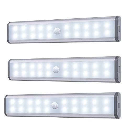 Bewegungssensor Schrank Leuchten, 20 LED kabellose Unterschrank Leuchte mit eingebautem Akku, überall aufklebbar Magnetische Nachtbeleuchtung für Küchenschrank (3er Pack)
