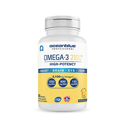 Oceanblue Omega 3 2100-60 Softgels - Triple Strength Burpless Fish Oil ? Molecularly Distilled - High Concentration EPA DHA and DPA - Wild-Caught - Natural Orange Flavor