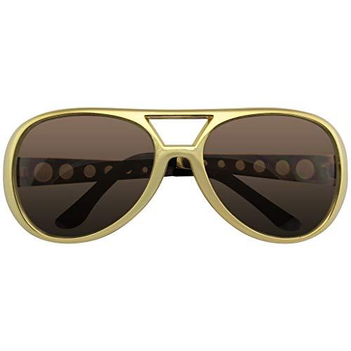 Emblem Eyewear - Estrella de Rock Gafas de Sol Disfraz Fiesta Novedad Gafas de Sol Años 60 Rock Estrella Clásico Retro Gafas de Sol (Oro)