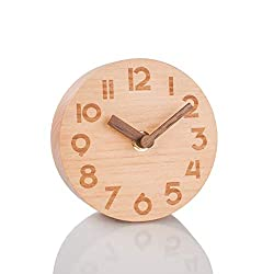 Artinova Wooden Clock, Handmade,Silent Desk Clock for Home Bedroom Office, ARTA-6039