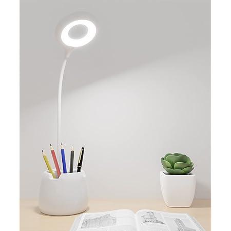 Lampe de Bureau, Lampe Table Led Dimmable pour Livre 3 Niveaux de Luminosité Col de Cygne Flexible Contrôle Tactile Protection des Yeux USB Rechargeable Porte Stylo, Téléphone, lumière chaude